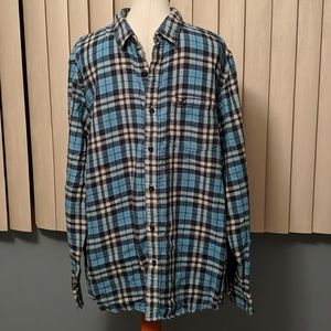 American eagle blue plaid flannel